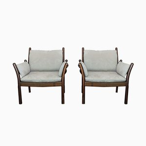 Vintage Alcantara Armchairs by Illum Wikkelsø for Silkeborg, Set of 2