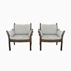 Vintage Alcantara Armchairs by Illum Wikkelsø for Silkeborg, Set of 2