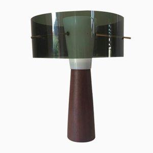 Lámpara de mesa escandinava con base de teca, años 60