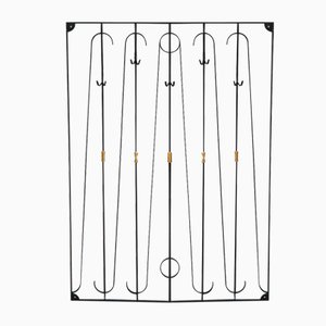 Wrought Iron Wall Rack with Brass Details, 1950s