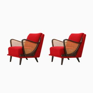 Armchairs with Rattan Armrests, 1960s, Set of 2