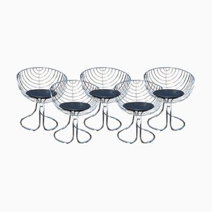 Vintage Pan Am Chrome Chairs by Gastone Rinaldi for Rima, Set of 5