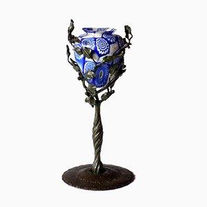 Jarrón modernista de cristal Murrine y hierro forjado de Fratelli Toso Vetreria Artistica, años 10