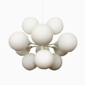 Large Sputnik Opaline Glass Chandelier from Kaiser Leuchten, 1960s