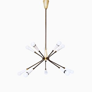 Italian Sputnik Chandelier in Brass, 1960s