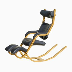 Vintage Gravity Leather Rocking Chair by Peter Opsvik for Stokke