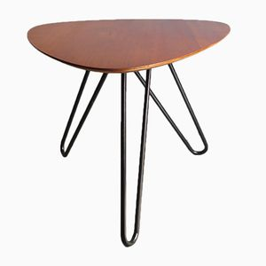 Mid-Century Teak & Metal Tripod Coffee Table