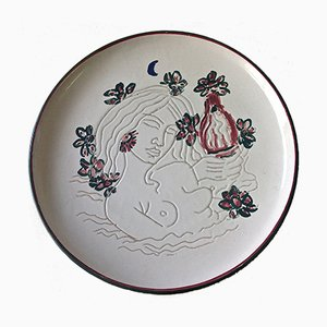 Dekorativer Keramik Teller von Tono Zancanaro für Castelli, 1973