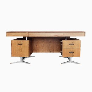 Large German Brutalist Wenge Desk by HR, 1960s
