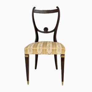 Chaises de Salle à Manger Vintage en Hêtre et Laiton, Italie, Set of 6
