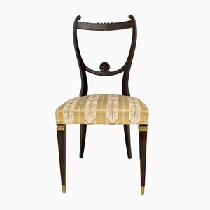 Vintage Italian Beech & Brass Dining Chairs, Set of 6