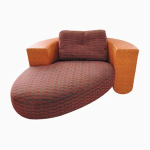 Baialonga Chaise Lounge in Tangerine Leather and Red Fabric by Studio Visette for Pierantonio Bonacina, 1990s