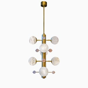 Brass Suspension with Alabaster Globes and Quartz by Glustin Creation