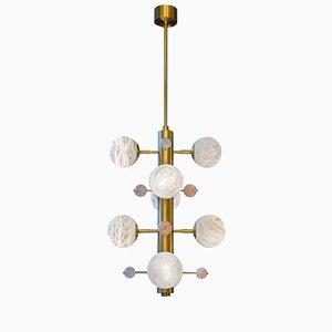 Lámpara de suspensión de latón con globos de alabastro y cuarzo de Glustin Creation