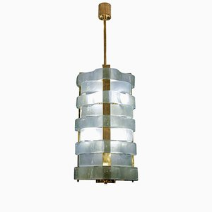 Brass Lantern with Murano Glass Ribbons by Glustin Creation