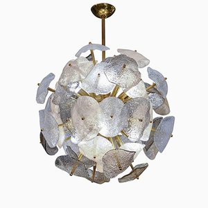 Brass Spherical Chandelier with Murano Glass Leaves by Glustin Creation