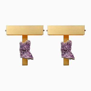 Wall Sconces with Amethysts and Rectangular Shades from Glustin Luminaires, Set of 2
