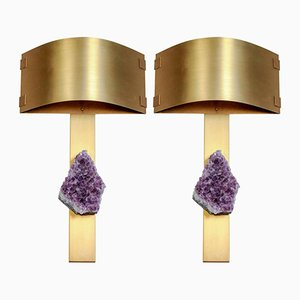 Messing Wandlampen mit Amethysten und gebogenen Schirmen von Glustin Luminaires, 2er Set
