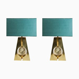Brass and Fractal Resin Table Lamps from Glustin Luminaires, Set of 2