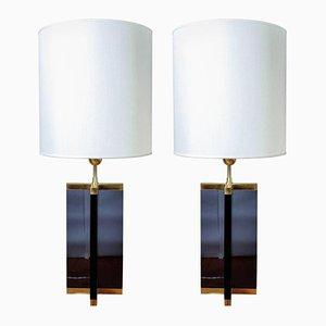 Dunkle Plexiglas und Messing Tischlampen von Glustin Luminaires, 2er Set