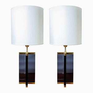 Lampes de Bureau en Plexiglas Foncé & Laiton de Glustin Luminaires, Set de 2