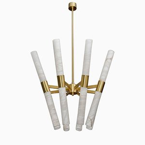 Satin Brass Chandelier with Tilted Alabaster Rods by Glustin Creation