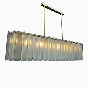 Long Brass and Frosted Glass Chandelier by Glustin Creation