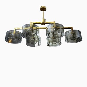 Brass Chandelier with Silver Glass Cylinder by Glustin Creation