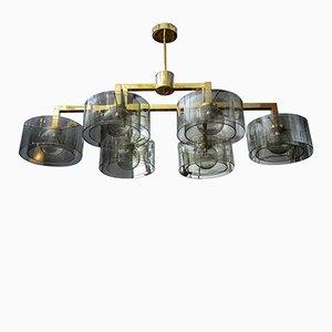Lámpara de araña de latón con cilindro de vidrio en plateado de Glustin Creation