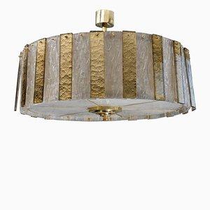 Lámpara de araña redonda de latón con paneles de cristal de Murano de Glustin Creation
