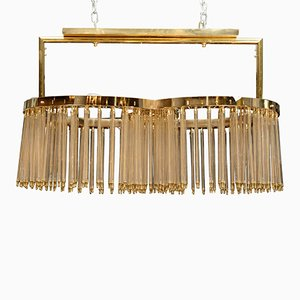 Brass and Glass Rods Chandelier by Glustin Creation