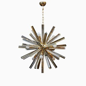 Brass Round Chandelier with Triedre Murano Glass Spikes by Glustin Creation