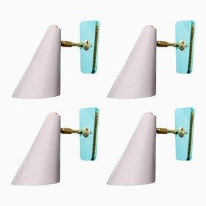 Apliques de pared con cono en rosa polvo y verde azulado de Kada Oudainia para Glustin Luminaires. Juego de 4