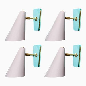 Dusty Pink and Teal Cone Wall Sconces by Kada Oudainia for Glustin Luminaires, Set of 4
