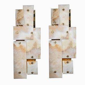 Applique in ottone e marmo di Glustin Luminaires, set di 2