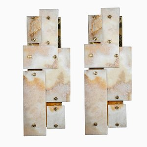 Brass and Marble Wall Sconces by Glustin Creation, Set of 2