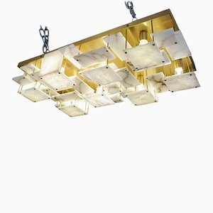 Brass and Alabaster Tiles Ceiling Lamp by Glustin Creation