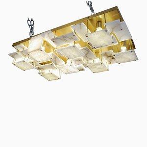 Lampada da soffitto in ottone ed alabastro di Glustin Luminaires