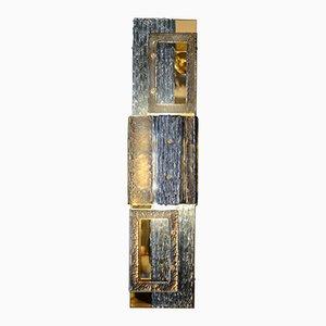 Applique Murale en Laiton & Panneaux en Verre Murano par Glustin Creation