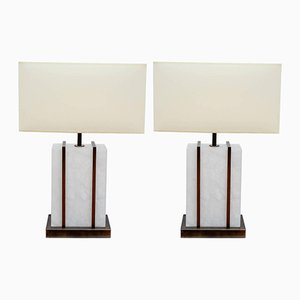 Brass and Alabaster Cage Table Lamps by Glustin Creation, Set of 2