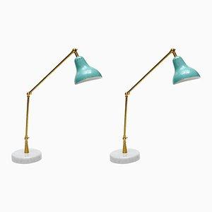 Lámparas de escritorio italianas con cono verde azulado y brazo articulado de Glustin Creation. Juego de 2
