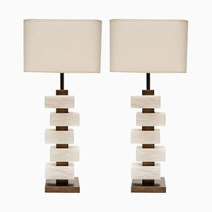 Lámparas de mesa de bloques de alabastro y latón de Glustin Creation. Juego de 2