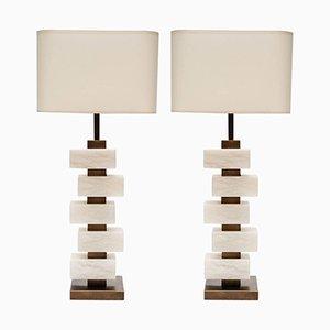 Lampes de Bureau en Laiton & Albastre par Glustin Creation, Set de 2