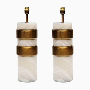Alabaster Lamps with Brass Rings by Glustin Creation, Set of 2