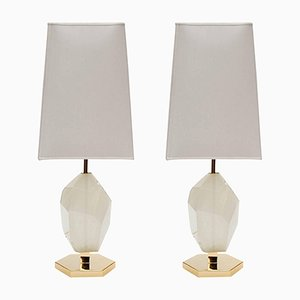 Brass and Diamond-Cut Resin Table Lamps by Glustin Creation, Set of 2