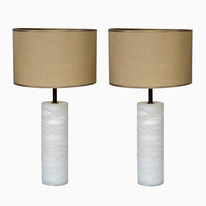 Alabaster and Brass Table Lamps with Multiple Lights by Glustin Creation, Set of 2