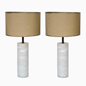 Lámparas de mesa de latón y alabastro con lámparas múltiples de Glustin Creation. Juego de 2
