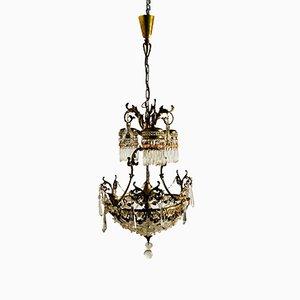 Französischer Vintage Kristallglas Kronleuchter