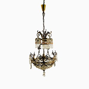 Vintage French Crystal Beaded Liberty Chandelier