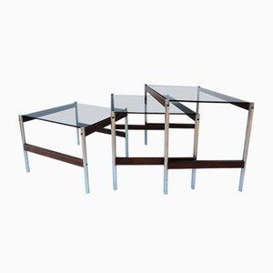 Mesas nido minimalistas de acero y wengué de Fristho, años 60